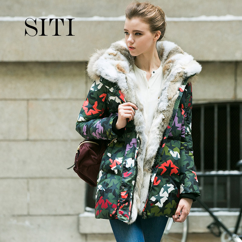 2016 women down warm long camouflage coat jacket parka zipper fashion new winter outerwear rabbit fur collar plus size thick(China (Mainland))