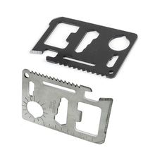 PKR 212.02  33%OFF | 11 in 1 Credit Card Size Wallet Cutter Blade Stainless Steel Survival Multitool Utility Tool for Camping Hiking Survival MDJ998