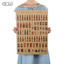 Beer Encyclopedia of Graphic Evolutionary History Bar Counter Adornment Kitchen Retro Vintage Poster Wall Sticker(China)