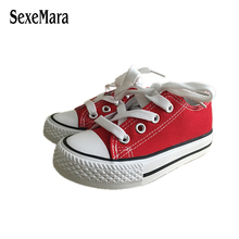 Unisex 2017 New Student Shoes Anti-Slippery Flats Shoes Black/Red/White Children Sneakers Toddlers Boys Canvas Shoes Girl A02121(China)