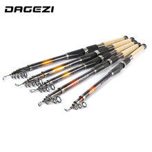 DAGEZI 6 sections 2.1M/2.4M/2.7M/3.0M Casting Rod Rock Carbon Spinning Fishing telescopic fishing rods fishing pole