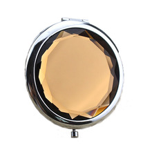 2017 Portable Lady Pocket Crystal Makeup Mirror Round Double Sides Folding Make Up Compact Mirrors(China)