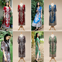 2017 New personalized travel holiday dress  India Nepali Thailand calico dress South East Asian Traditional special Dress Z003