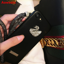Aoweziic Europe States tide brand luxury rhinestones swan for iphone7 6s 8 X 6plus mobile phone case lanyard holster 6s female(China)