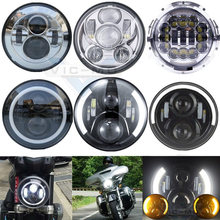"Motorbike Accessories 7"" Turn Signal DRL Angel Eye Headlamp Harley Softail Touring Daymaker Projector 7 Inch Round LED Headlight(China)"