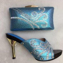 Nice Looking Italian Matching Shoes And Bag Set ladies Shoes And Bag To Match For Nigerian Wedding Sky Blue TT16-36