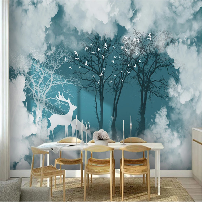 Nordic Elk Forest Landscape White Clouds TV Sofa Background Wall Decor Mural Wallpapers Living Room Bedroom Kids Room Wall Paper