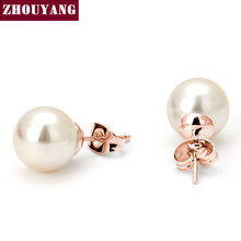 Top Quality ZYE240 Simulated-peart Earring Rose Gold Color Stud Earrings Jewelry Austrian Crystal Wholesale(China)