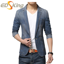 Spring Mens 2017 Blue Jean Blazers Fashion Casual Slim Fit Denim Jacket Office Blazer Men Buttons Suits Male Coat Brand-Clothing