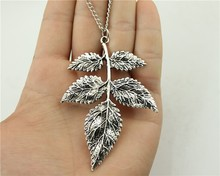 WYSIWYG  fashion antique silver bronze tone 79*56mm branch pendant necklace, 70cm chain long necklace