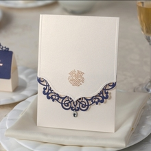 cream white wedding invitation card laser cut free shipping and printable CW502(China)