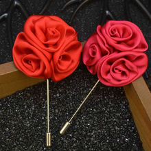 Wedding Brooches Men Lapel Pins Fabric Flower Handmade Boutonnieresticks Brooch Pin Men's Suits Clothing Accessories 15 Colors(China)