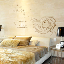 Dandelion Girl Wall Sticker Bedroom Wall Decal Mural Home Decor Headboard Paster sk7048