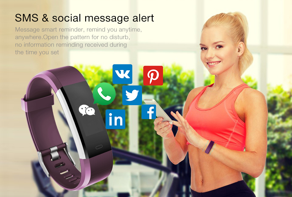 Hot Smart Wristband ID115 Plus Smart Band pedometer Fitness Bracelet Activity Tracker Mp3 Smart Bracelet Pk fitbit PK mi band 2 9