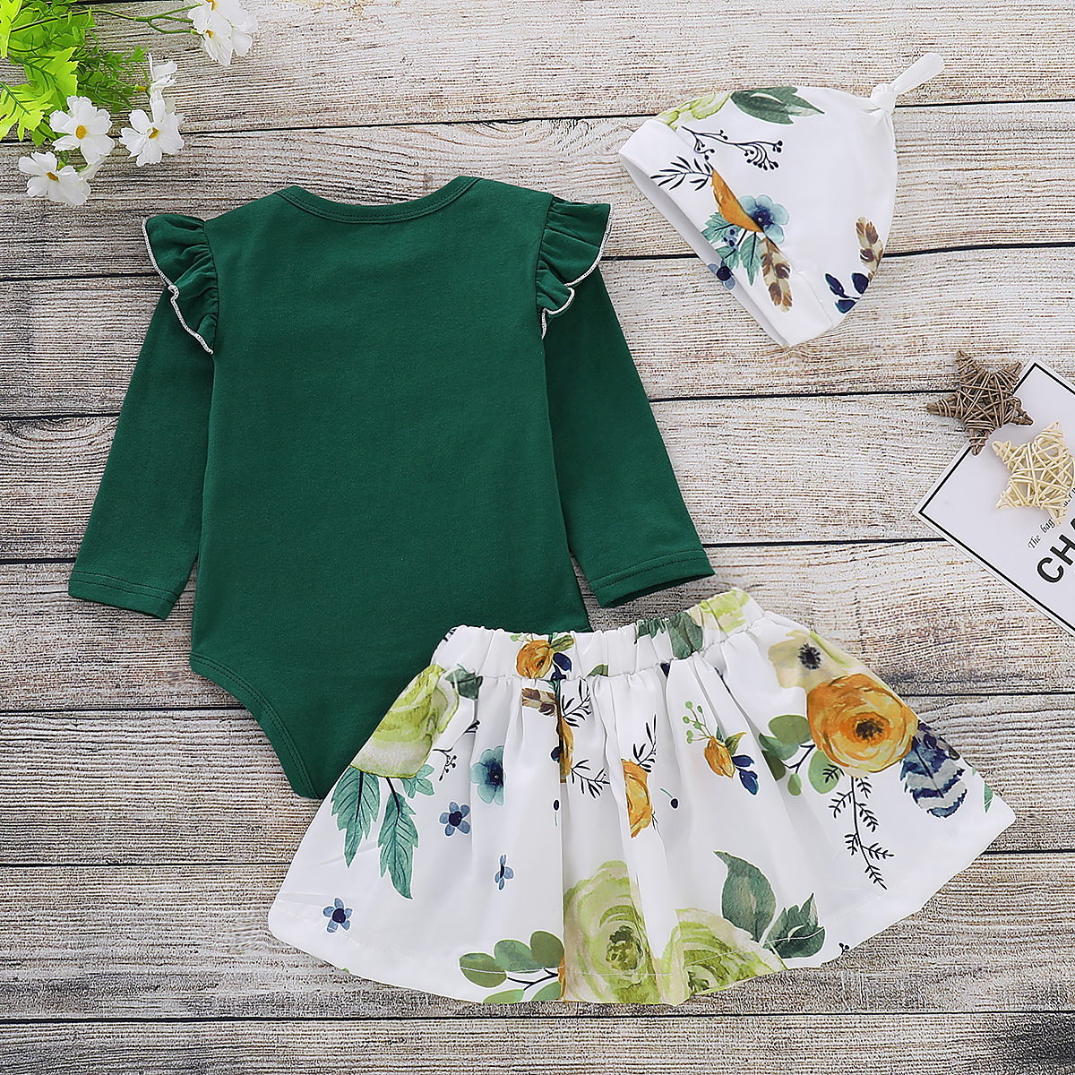 2018 Newborn Baby Girls Clothes Solid Romper Fly Long Sleeve Jumpsuit +Floral Tutu Dress +Hat Outfit Set Autumn Cute Costume