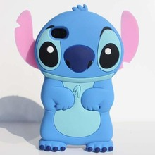 Cute 3D Cartoon Lovely Lilo Stitch Movable Ear Flip Soft Gel Rubber Silicone Protection Skin Case Cover for Iphone 5 5s SE Coque