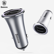 Baseus Dual USB Car Charger Adapter For iPhone X 8 7 6 5 Samsung Xiaomi LED Light Car Charger 3.1A Car Phone Charger(China)