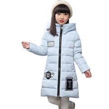 -30 degree childrens down jacket for girls clothes 2016 New Girl Long Fund Thickening kids clothes Loose Coat Magic Hat parka
