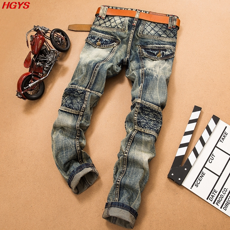 2017 men fashion popular logo Garment washed jeans hole stitching youth big yards high quality jeansОдежда и ак�е��уары<br><br><br>Aliexpress