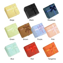 24pcs/lot 4X4X3cm Gift Boxes Bangle Jewelry Ring Earring Watch Gift Carton Box Bowknot Case Jewelry Box Package makeup organizer(China)