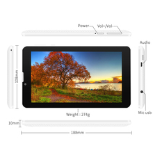 "YUNTAB white E706 7"" Google Android 5.1 Tablet 3G Unlocked phone Tablet PC Quad-Core Touch Screen Dual Camera"