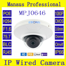 POE 1080P 2.0 Megapixels Full HD Network Mini Dome Nanny Cam Camera New Email Photo Alarm Security Best Surveillance Camera J646(China)