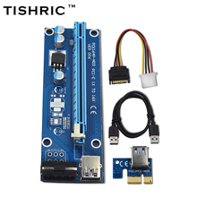 TISHRIC Ver006 PCI Express Riser Card 1x To 16x Usb3.0 Cable 60cm PCI-E Extender Sata To 4pin Molex Power For Btc Miner Machine