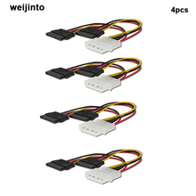 4pcs Serial ATA SATA 4 Pin IDE Molex 2 of 15 Pin HDD SSD Power Adapter Cable(China)
