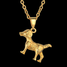Merry Christmas Dog Pendant Necklace for Women Gift Cute Silver/Gold Color Pet Pendant With Link Chain High Quality Jewelry(China)