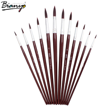 Bianyo 12pcs Round Sharp Synthetic Hair my Artist Brushes Brown Wooden Handle Paint WatercolorBrushes for stationery Supplies