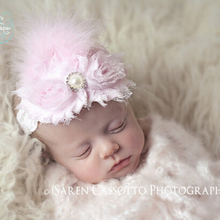 Newborn Flowers Feather Pearl Headband Kids Flower Lace Headband Headwrap Hair Bands Hair Accessories Photography Props Gift(China)