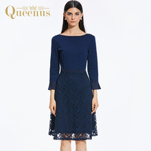 Queenus Women Dress Autumn Winter Day Dress Round Neck 3/4 Sleeve Backless Lace Patchwork Knee Length Black Women A Line Dresses