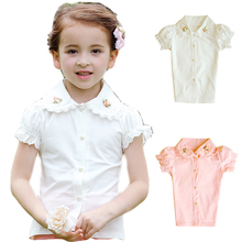 Girls School Shirts for Kids Blouses for Teenagers Baby Girls White Blouse Button Lace Cotton Embroidery Flower Uniform Shirt