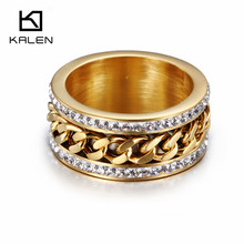 Kalen New Fashion Jewelry Stainless Steel Italian Gold Silver Ring Women Wedding Engagement Anniversary Party Ring(China)