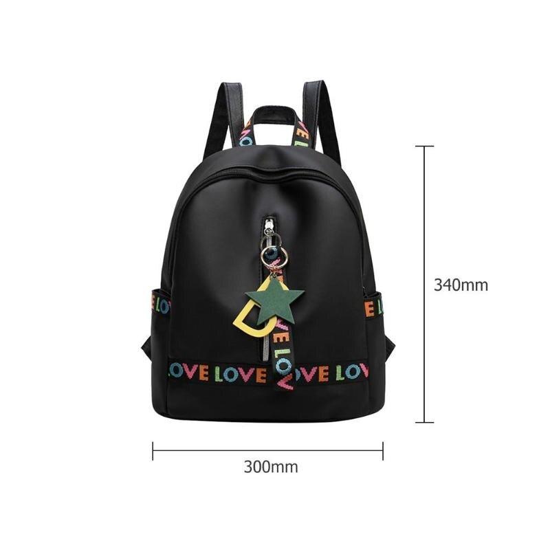 Simple Waterproof Women Backpack Fashion Embroidery Letters Shoulder Bags  Zipper Star Pendant Decor a6d55e002c72c