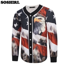 SOSHIRL American Flag Eagle Long Sleeve 3D Jersey Cool Punk Retro T Shirt Men V Neck Top Tees Male Tshirt Outwear Plus Size