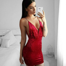 Brand 2017 Autumn Sexy White Red Velvet Dress Elegant Sleeveless Night Club Wear Clothing Package Hip Female Bodycon Short Dress(China)