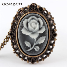 White Rose Flower Bronze Retro Pocket Necklace Pendant Watch Women's Gifts P61