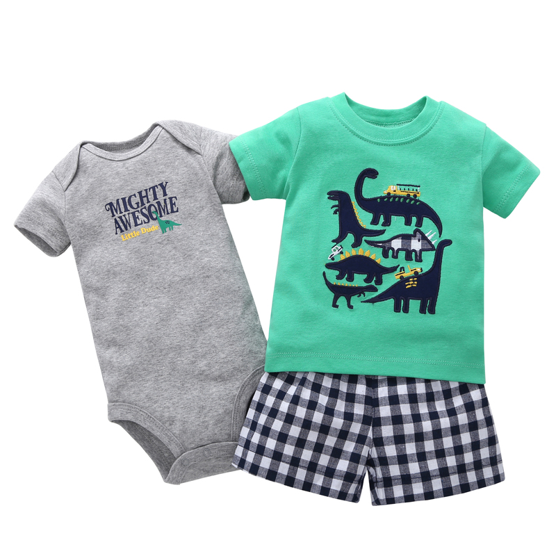 baby boy summer clothes set short sleeve dinosaur print t shirt tops+bodysuit+shorts newborn outfit 2019 new born clothing suit