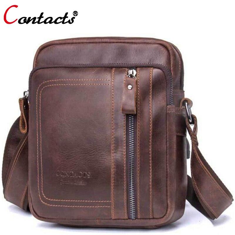 Contacts Genuine Leather Messenger Bag Handbag Famous Brand Crossbody Bags For Mens Bag Male Briefcase Men Shoulder Bag Small<br>
