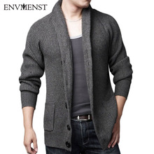 New 2017 Fashion Sweater Men Pull Homme Long Sleeve Single Breasted Casual Knitted Checked Sweater Man Cardigan Sweater(China)