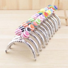 10PCS/LOT 8.5cm stripe lollipop bead Metal Purse Frame semicircle bright and clean Silver lace Coin Purse Frames,Freeshipping