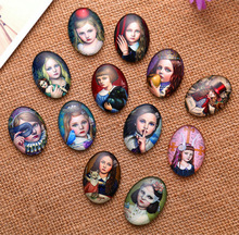 24X  13*18mm  little girl pattern ellipse Handmade Photo Glass Cabochons & Glass Dome Cover Pendant Cameo Settings