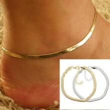 Новые женские ботильоны браслет ног Ювелирные изделия простой цвета: золотистый, Серебристый цепи Шарм пляж Богемия браслет подарки(China)