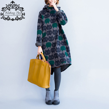 Plus Size Women Hoodies & Sweatshirts Winter Thickening Warm Cotton Fashion Female Cat Print Big Size Casual Turtleneck Dress(China)