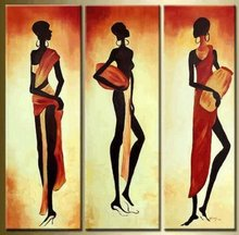 Free shipping Hand-painted figurative abstract Oil Paintings on canvas Modern Art  African women  painting Three panels