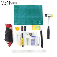 Buy Kiwarm Leather Craft Tool Kit Leather Hand Sewing Tool Stitching Groover Beveler Punch Cutter Home Sewing Handwork Tools for $49.16 in AliExpress store