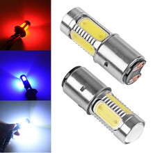 BA20D H6 7.5W 5 COB Motorcycle Head Source LED External Light For Motor Bike Moped Scooter ATV Headlight Bulb Lamp White Red