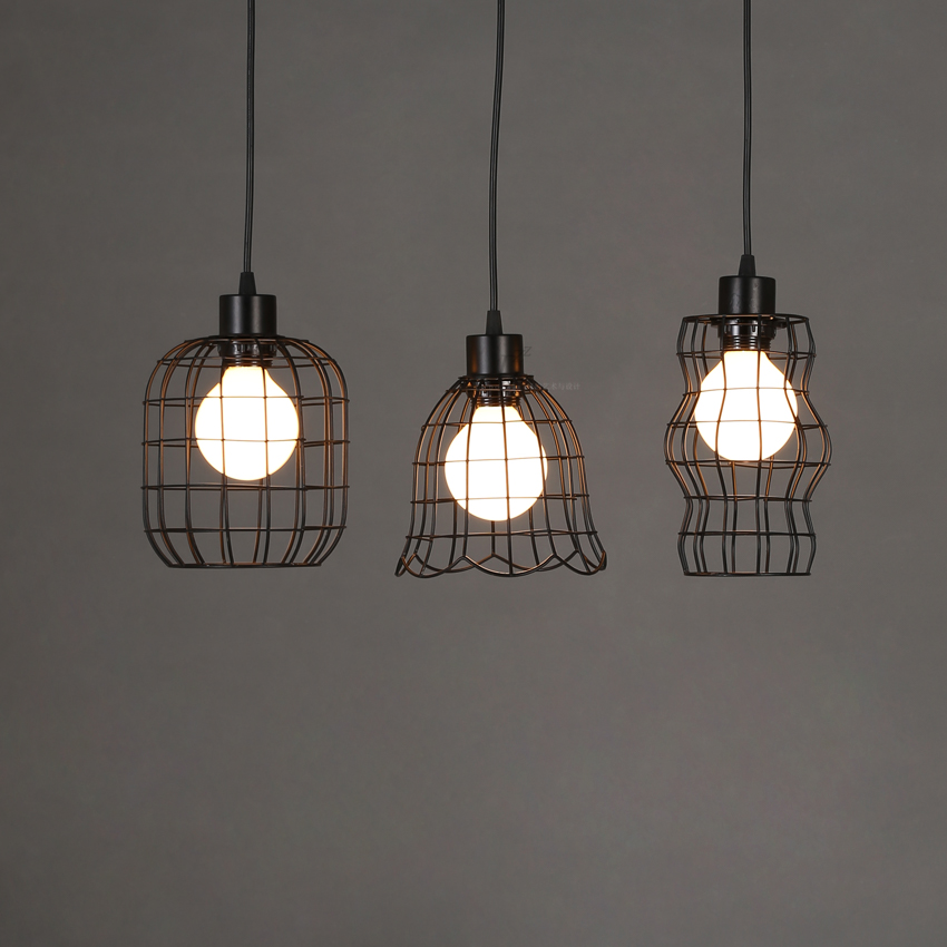 Vintage Industrial Loft Edison Cages Led Metal Wrought Iron Pendant Lights Fixtures Dining Room Gallery Pendant Hanging Lamps   <br>