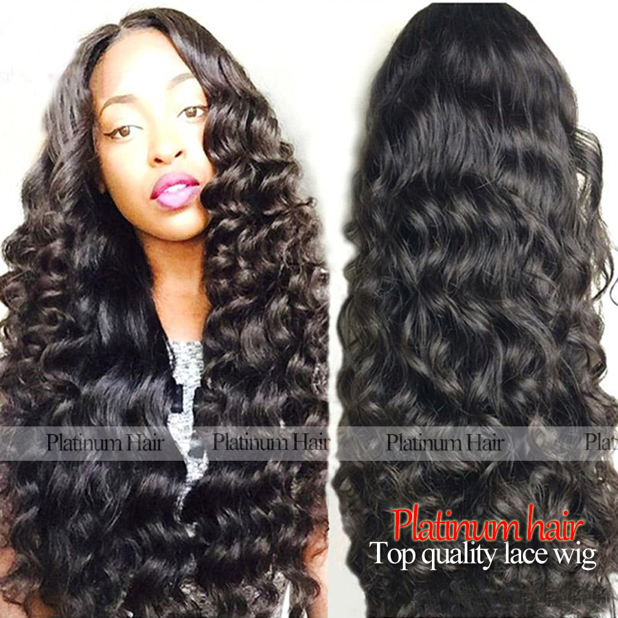 Hot Selling Deep Wave Synthetic Lace Front Wig Natural Black Wig Heat Resistant Synthetic Hair Wigs for Black Women <br><br>Aliexpress